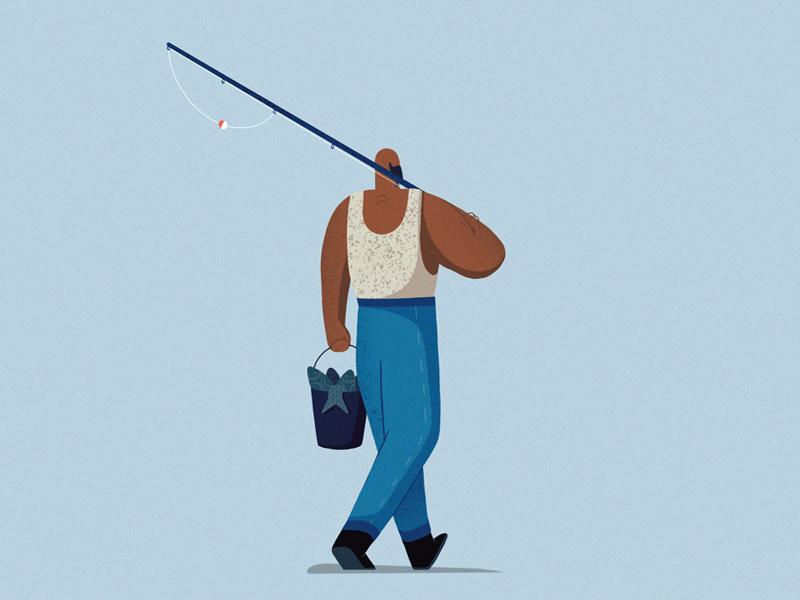 Fisherman dribbble