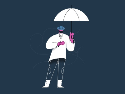 Autumn doodle character design stance watch raincoat autumn fall rain umbrella design after effects character illustration