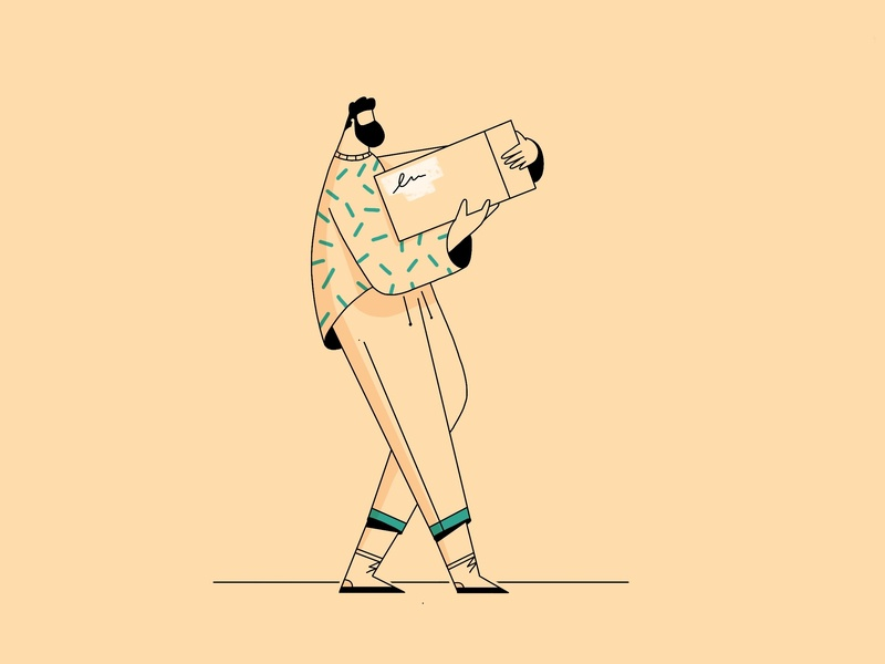 Post 2d animation after effects cycle walk outline illo character design design ipad procreate postman post illustration