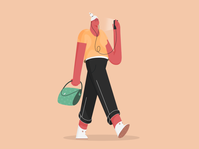 Walk hairstyle procreate ipad jeans shoes hand purse phone design illustration character walk