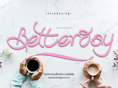 Betterday Calligraphic Style logos product name wedding card display font calligraphic script
