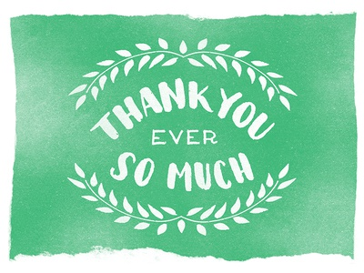 Thanks a Bundle card lettering thank you