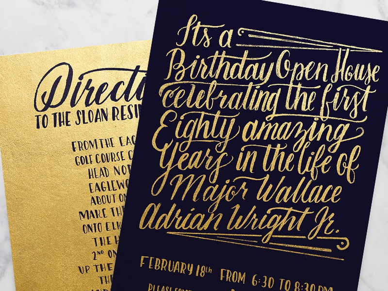He'll Party Like It's His Birthday. birthday invitation lettering foil gold family hand lettering