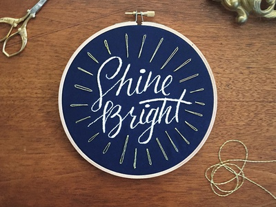 Shine Bright Hoop hand lettering sketch to stitch gold lettering embroidery