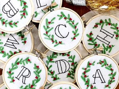 Embroidered Christmas Ornaments