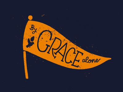 By Grace Alone sketch to vector lettering flag grace