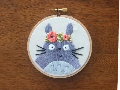 My Neighbor Totoro sketch to stitch fan art flower crown embroidery flowers totoro