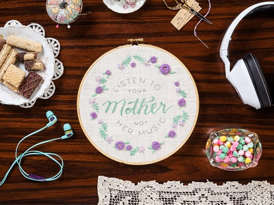 Listen To your Mother, Not Her Music sketch to stitch floral lettering hoop embroidery skullcandy