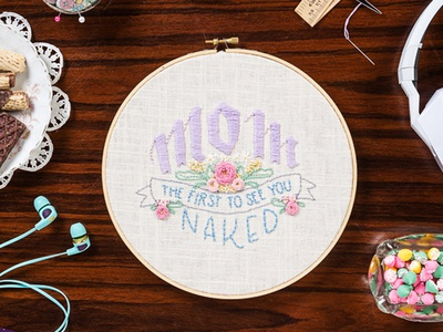 Mom, The First To See You Naked sketch to stitch skullcandy embroidery lettering