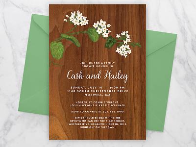 Mayflower Bridal Shower Invite bridal shower mayflower botanicals flowers illustration invitation