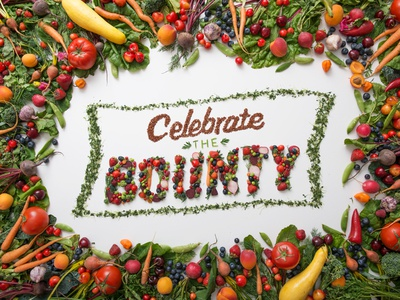 Celebrate The Bounty Food Type hand lettering food typography lettering produce branding