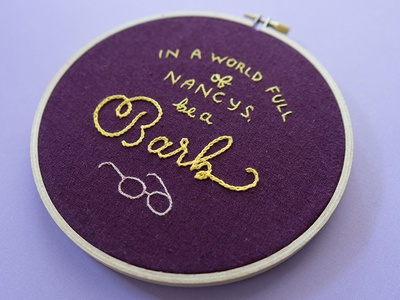 #ImWithBarb sketch to stitch stranger things lettering embroidery barb