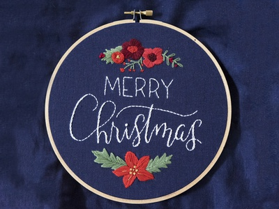 Merry Merry merry christmas christmas lettering embroidery