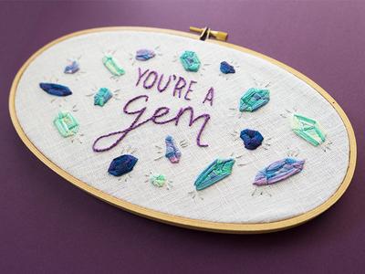 You're a Gem lady scrib stitches illustration lettering embroidery gemstones gem