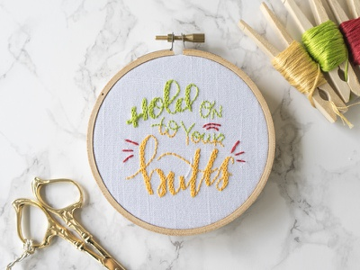Hold On To Your Butts... jurassic park lettering lady scrib stitches handmade embroidery