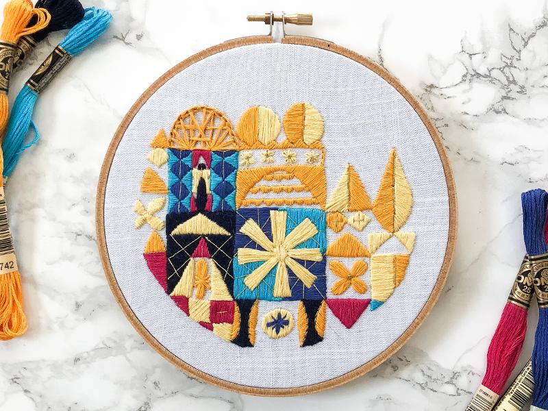It's a Small World small world lady scrib stitches handmade embroidery