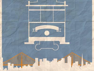 Visit San Francisco vintage poster folded typography filmotype muncie city skyline bridge trolley travel lost type san francisco golden gate