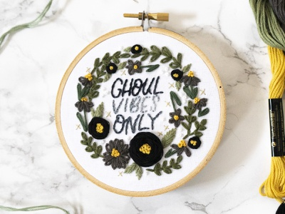 Happy Halloween! lady scrib stitches handmade sketch to stitch illustration hand lettering embroidery lettering