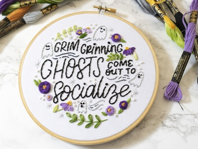 Grim Grinning Ghosts haunted mansion disney lady scrib stitches handmade sketch to stitch illustration hand lettering embroidery lettering