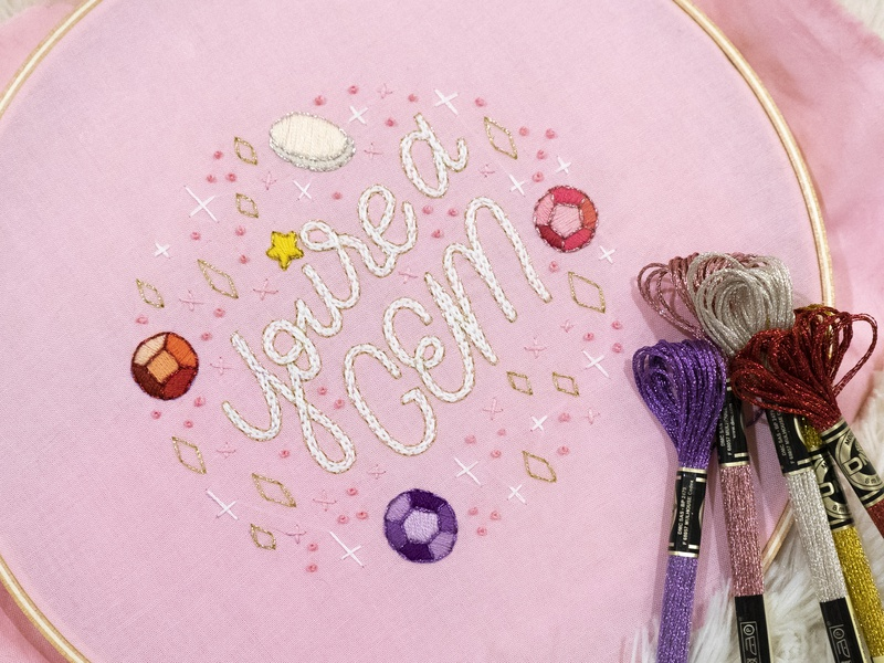 You're a Gem texture typography lady scrib stitches handmade sketch to stitch hand lettering lettering embroidery