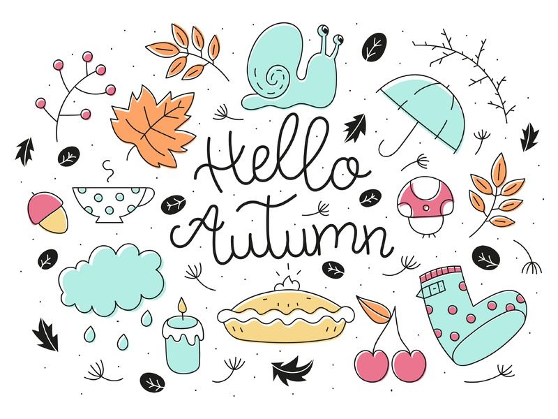 Hello Autumn illuatration graphics vector season line handdrawn cute colorful color doodle hand lettering autumn hello