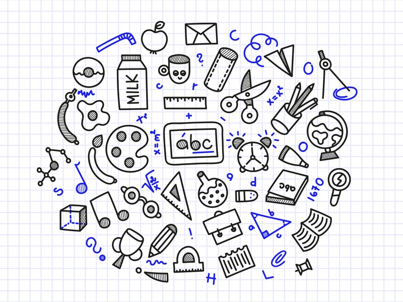School Doodles vector kid children line outline illustration blue white black doodles knowledge education school