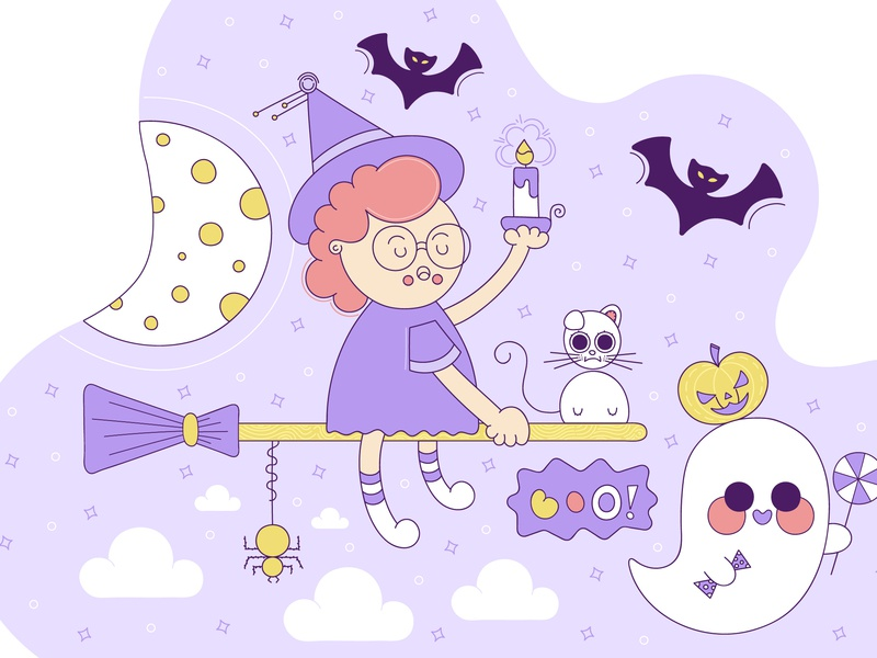 Cutest Halloween is Coming celebration moon witch cat ghost pumpkin autumn clipart vector trick or treat line outline colorful illustration cute halloween