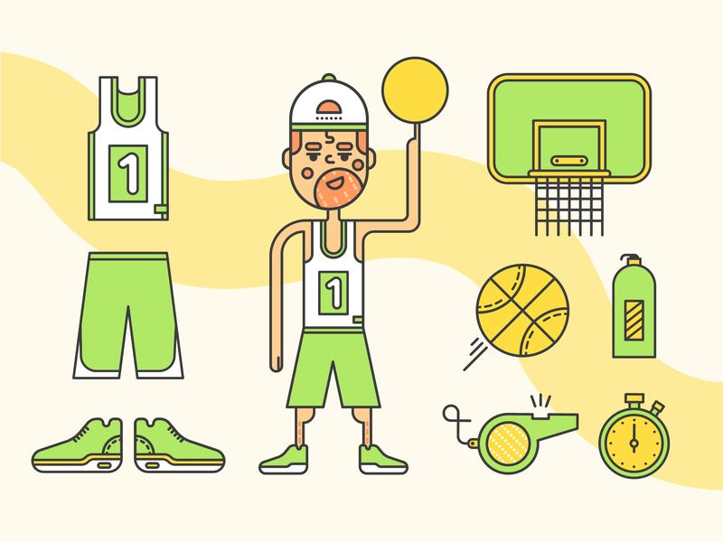 Basketball Fan champion icon line vector illustration sport player fan basketball