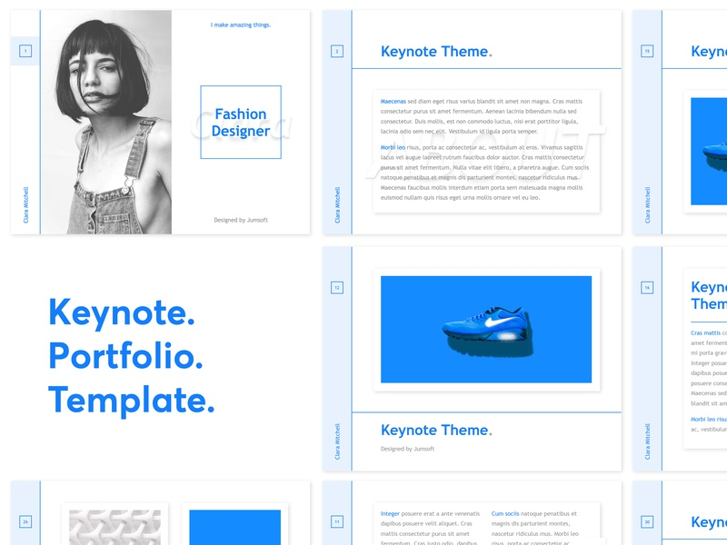 Portfolio Presentation fashion slides blue layout design graphic template presentation keynote portfolio