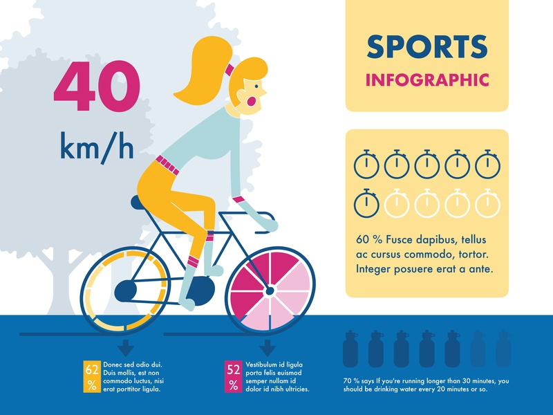 Sports keynote color chart visualization data infographic illustration flat vector bicycle running gymnastics sports
