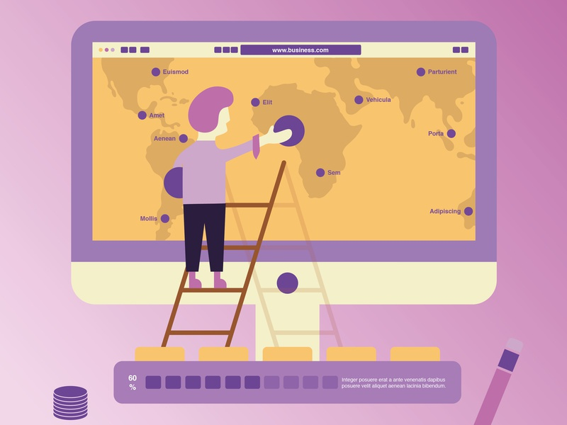 Business Infographics chart note phone illustration design layout flat vector map infographics visualization data business