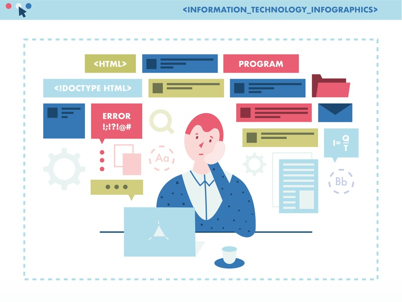 IT Infographics company overmind character visualization data illustration vector flat keynote infographics it technology information