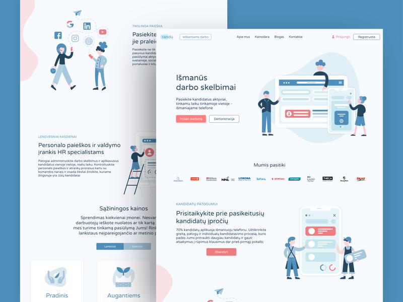 Randu Illustrations landing page pricing website illustration website design website people ipad iphone job work candidates recruiters illustration