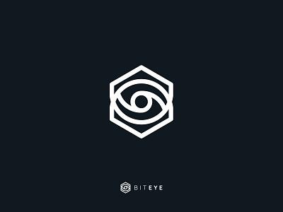 Biteye logo it modern minimalistic outline line eye bit geometric sygnet brand logo
