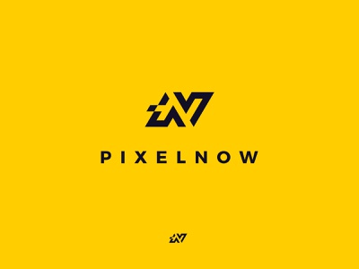 Pixelnow logo creative sharp yellow design sygnet brand modern pixel logotype logo