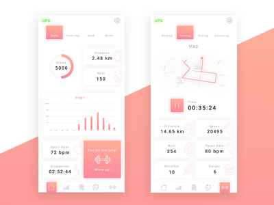 020 DailyUi Location Tracker training swimmer walk running sport fit map tracking mobile application app design 100 day project challenge 100 day challenge 100 daily ui 100 ux ui dailyui