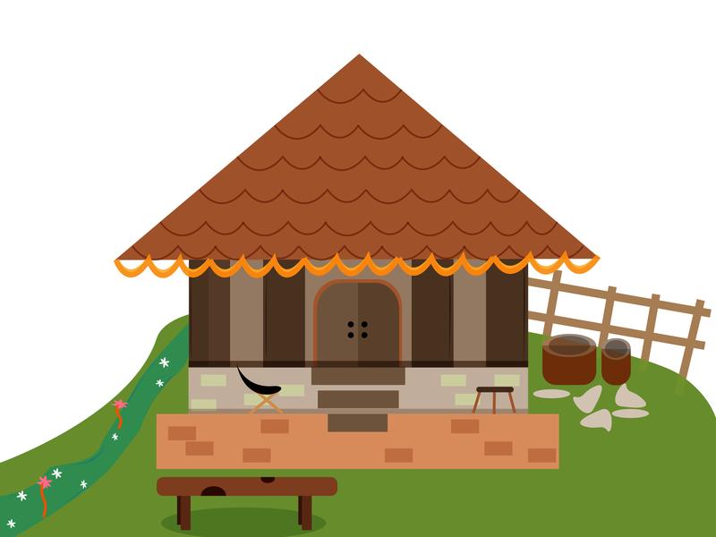 Sweet Home village home design illustration
