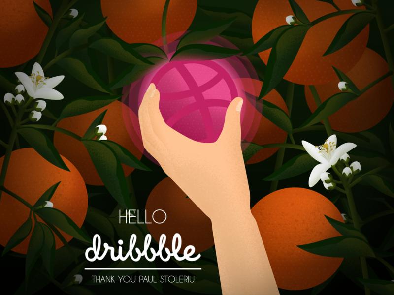 Hello, Dribbble! vector dribbble debut dribbble first shot hello orange blossoms flower fruit orange picking citrus farm citrus oranges