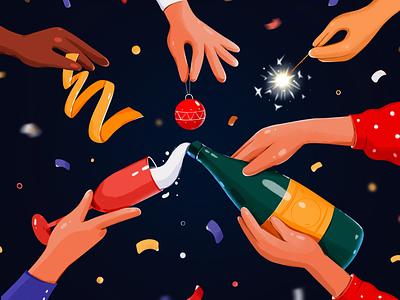 Happy New Year holidays christmas new year vector flat procreate creative illustration design