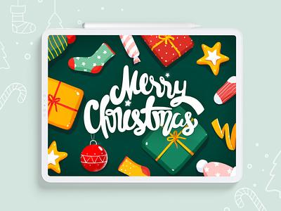 Merry Christmas gift pattern christmas creative flat procreate vector illustration design