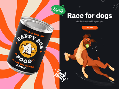 Branding & Packaging - Happy Dog food pet dog character logo branding vector icon procreate illustration creative flat design