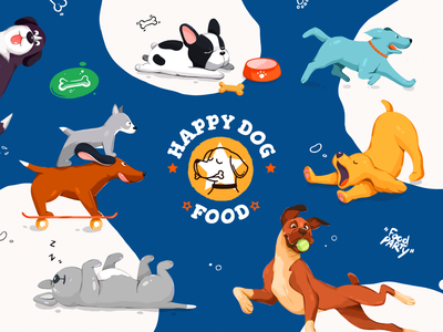 Happy Dog Food branding design vectors dog food character logo branding vector procreate illustration creative flat design