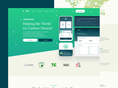 Cloverly Homepage nature ux responsive landing illustration uxui code website dashboard api neutral carbon eco ecology sustainable