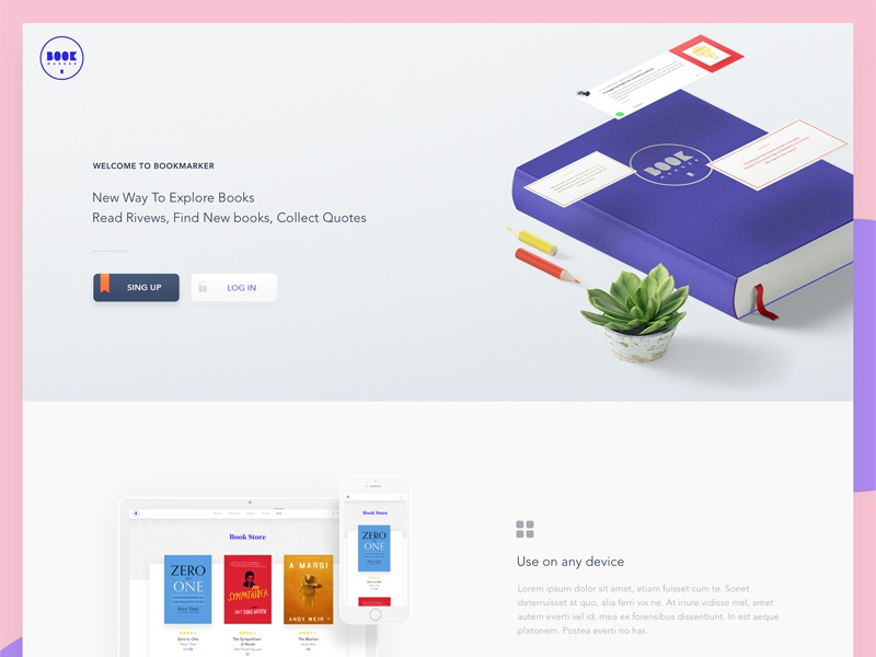 Bookmarker Landing web home ui review page reviews uxui purple marker landing book