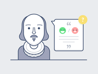The Question marketing emoji smile illustration shakespeare