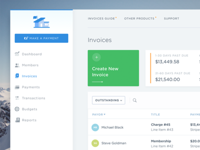 Invoices list stats transaction interface budgets uxui dashboard invoice
