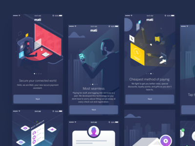 Mati Onboarding screens mobile application app technology p2p payments verification style isometric 2d 3d illustration