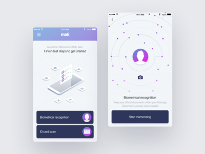 Mati Mobile verification isometric passport id face id documents purple mobile startup biometric face recognition facial fr application app ux ui illustration uxui