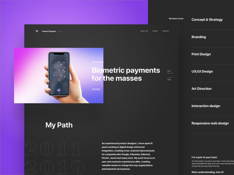 Personal portfolio update app mobile design app responsive web designer logo personal designer portfolio website landing uxui