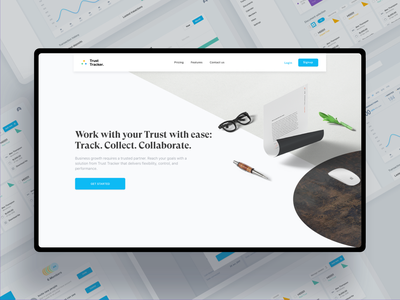 Trust Tracker Website and Dashboard page web ux blue document responsive saas website light chart graph analyst analysis saas accounting documents dashboard landing illustration uxui
